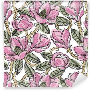Vinyltapete nach Maß Buntes nahtloses Muster mit Blumen, Knospen, Blättern und Zweigen der Magnolie. Vektor-Illustration, isoliert auf Hintergrund für Design, Stoff oder Tapete.