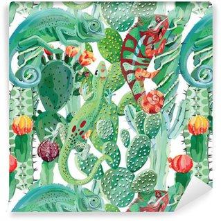 Vinyltapete nach Maß Chamäleon und Kaktus nahtloser Hintergrund