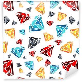 Vinyltapete nach Maß Diamanten nahtlose Muster. Vektor-Muster mit Diamanten. Nahtloses Muster kann für Tapete, Musterfüllungen, Webseitenhintergrund, Oberflächenbeschaffenheiten und Gewebe benutzt werden. Schwarz-Weiß-Design.