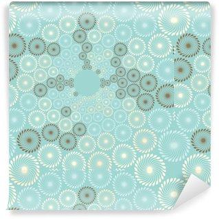 Vinyltapete nach Maß Eine stilisierte Ansicht eines Löwenzahnblasenflusses in weichem Blau, Elfenbein und Braun