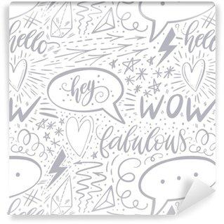 Vinyltapete nach Maß Kalligraphie Hand Schriftzug nahtlose Muster. positive Zeichen, Stern, Herz, Sprechblasen, geometrische Formen. perfekt für Print, Textil, T-Shirts, Handyhüllen. modernes Oberflächendesign. Vektor-Illustration