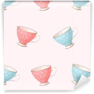 Vinyltapete nach Maß Nahtlose Jahrgang teacups