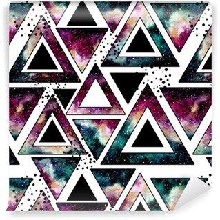 Vinyltapete nach Maß Nahtlose Muster mit Aquarell Dreiecke, Galaxie und schwarze Punkte
