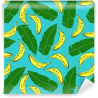 Vinyltapete nach Maß Nahtlose Muster mit Bananen und Blättern. Vektor-Illustration.