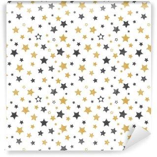 Vinyltapete nach Maß Nahtlose Muster mit Hand gezeichneten Sternen. stilvoller Hintergrund