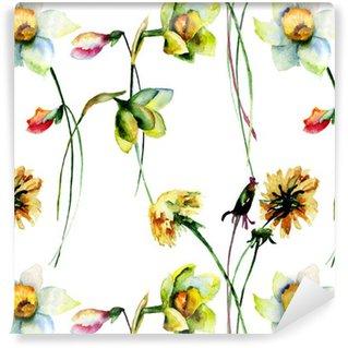 Vinyltapete nach Maß Nahtlose Muster mit Narzisse und Löwenzahn Blumen