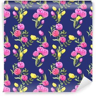 Vinyltapete nach Maß Nahtloser mit Blumenhintergrund mit Pfingstrosen- und Tulpeblumen. Mode-Muster für Textilien, Tapeten, Scrapbooking, Decoupage.