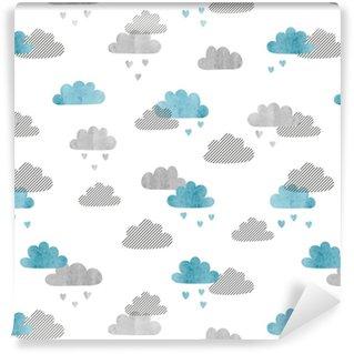 Vinyltapete nach Maß Nahtloser Vektor Aquarell Wolken Muster. Regen von Herzen.