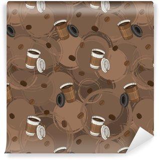 Vinyltapete nach Maß Nahtloses Kaffeemuster mit Kaffeebohnen und Kaffeetasse für Textil, Herstellung, Tapeten und Druck.