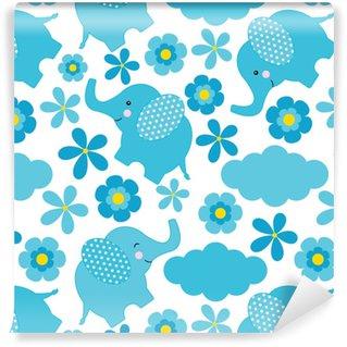Vinyltapete nach Maß Nahtloses Muster der Babyparty mit dem netten Elefanten und den Blumen passend für Tapete, Altpapier und Postkarte