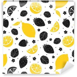 Vinyltapete nach Maß Nahtloses Muster der Erdbeere und der Zitrone in den gelben und schwarzen Farben. Vektor-Illustration
