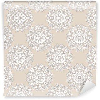 Vinyltapete nach Maß Nahtloses Muster der Weinlese mit Mandala. Vektor monochromen Hintergrund für Textil-, Print-, Tapeten, Verpackung.