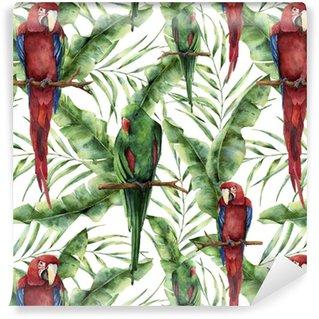 Vinyltapete nach Maß Nahtloses Muster des Aquarells mit Papageien, Bananenpalmblättern und Hibiscus. Handgemalter rot-grüner Macaw, Palmenniederlassung und Blumen getrennt auf weißem Hintergrund. Blumendruck mit tropischem Vogel