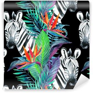 Vinyltapete nach Maß Nahtloses Muster des tropischen Dschungels. Blumenmuster mit Zebra auf weißem Hintergrund.