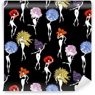 Vinyltapete Nahtloses Vektormuster mit Tanzenblumenmädchen: Lilie, Mohnblume, Chrysantheme, Flieder, Pfingstrose, Hortensie auf einem schwarzen Hintergrund.