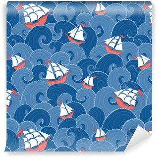 Vinyltapete nach Maß Nautischer Hintergrund. Seeschiffe und Wellen nahtlose Muster.