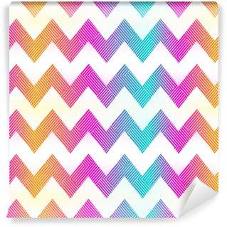Vinyltapete nach Maß Regenbogenfarbe Zickzack nahtlose Muster