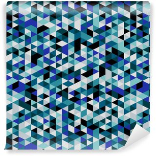 Vinyltapete nach Maß Retro-Stil Dreiecksmuster. Randomly farbige Dreiecke, vertikales Layout. Farben Ozean. Abstrakte geometrische Vektor Hintergrund.
