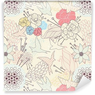 Vinyltapete nach Maß Seamless floral pattern