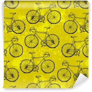 Vinyltapete nach Maß Von Hand gezeichnet Fahrräder nahtlose Muster auf gelbem Hintergrund