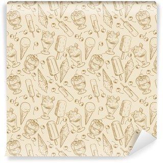 Vinyltapete nach Maß Weinlesedessertmuster - skizzieren Sie Eiscreme und nahtloses Muster der Kirschen