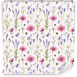 Vinyltapete nach Maß Wilde Blumen Illustration. Aquarell nahtlose Muster