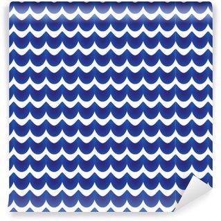Måttanpassad vinyltapet Abstrakt mönster blå och vit