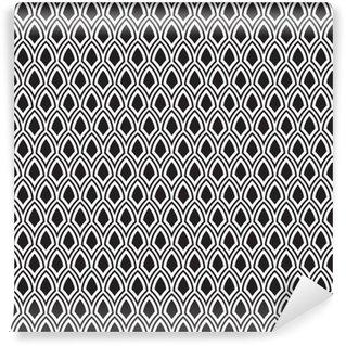 Spesialtilpasset vinyltapet Abstrakt Seamless Svart og Hvitt Art Deco Vector Mønster