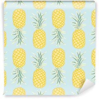 Spesialtilpasset vinyltapet Abstrakt sømløs ananas mønster. Vektor illustrasjon