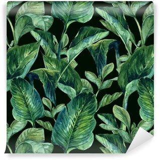 Akvarel sømløs baggrund med tropiske blade Vinyltapet
