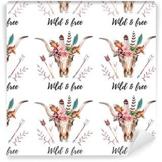Måttanpassad vinyltapet Akvarell boho skalle boho akvarell sömlös mönster med fjädrar, blommor
