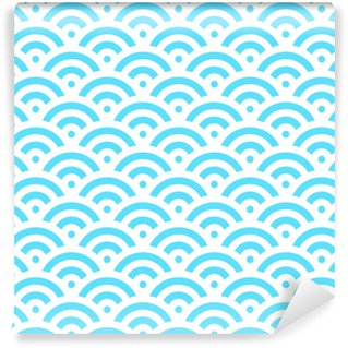 2cb524de Spesialtilpasset vinyltapet Blå fiskeskala bakgrunn av konsentriske  sirkler. abstrakt sømløs mønster ser ut som sjøbølger