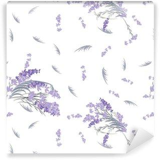 Måttanpassad vinyltapet Blommig lavendel retro vintage bakgrund