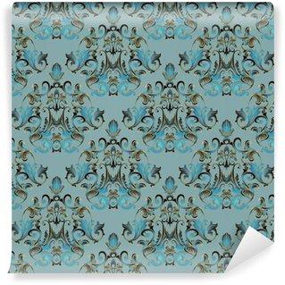 Damask floral sømløs mønster. lyseblå baggrund tapet illustration med vintage guld blomster, rulle hvirvel blade og antikke ornamenter i barok stil. Vektor blomstrer tekstur til stof Personlige vinyltapet