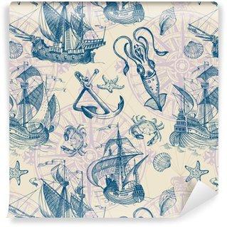 Måttanpassad vinyltapet Gammal caravel, vintage segelbåt, snäckskal, sjöstjärna, сrab, bläckfisk. handritad skiss. vektor sömlöst mönster för pojke. Den kan användas för textil, inslagspapper, menydesign och inbjudningar.