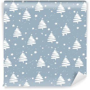 Måttanpassad vinyltapet Handgjorda granar stjärnor snö vektor mönster. gott nytt år och jul helgdag bakgrund banner.