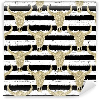 Måttanpassad vinyltapet Handgjorda sömlösa mönster. guld glitter skalle på randig bakgrund. för inslagning, tapeter, textilier, tyg