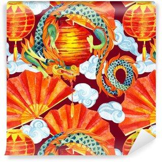 Spesialtilpasset vinyltapet Kinesisk drage akvarell sømløs mønster.