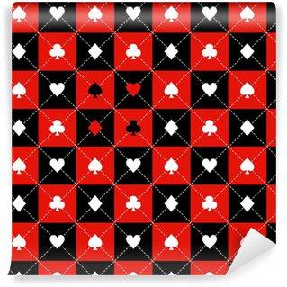 Måttanpassad vinyltapet Kort kostym röd svart vit schackbräde diamant bakgrund vektor illustration