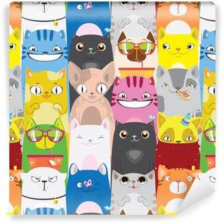 Lyst mønster af flerfarvede katte Personlige vinyltapet