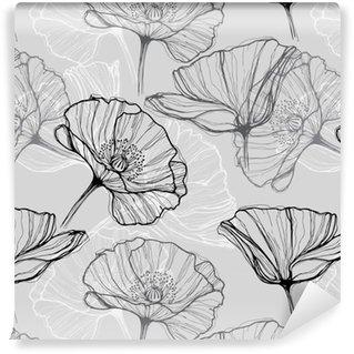 Spesialtilpasset vinyltapet Monokrom sømløs mønster med valmuer. Håndlaget floral bakgrunn