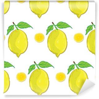 Spesialtilpasset vinyltapet Mønster frukt sitron tegning grafisk design objekter