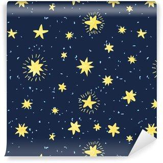 Nat himmel sømløs mønster. vektor baggrund med håndtegnede akvarel stjerner. Personlige vinyltapet