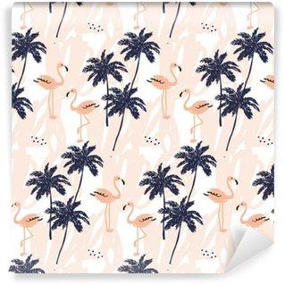 Måttanpassad vinyltapet Palmer silhuett och rodna rosa flamingo på vit bakgrund med stroke. Vector Seamless tropiska fåglar och växter.