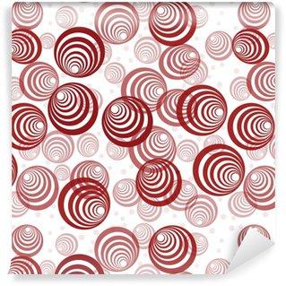 Måttanpassad vinyltapet Retro bakgrund med abstrakta röda cirklar