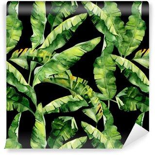 Måttanpassad vinyltapet Seamless vattenfärg illustration av tropiska löv, tät djungel. Mönster med tropisk sommartid kan användas som bakgrundsstruktur, inslagspapper, textil, tapetdesign. Banan palmblad