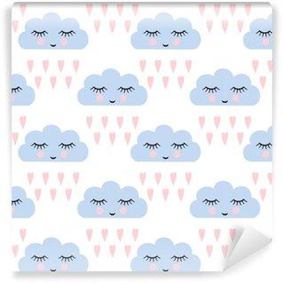 Spesialtilpasset vinyltapet Skyer mønster. Sømløst mønster med smilende, sovende skyer og hjerter for barnferier. Søt baby shower vektor bakgrunn. Barn tegning stil regntunge skyer i kjærlighet vektor illustrasjon.