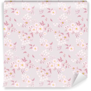 Sømløs blomstermønster. baggrund i små lyserøde blomster på en lys baggrund for tekstiler, stof, bomuldsstof, dækker, tapet, print, gavepakke, postkort. Personlige vinyltapet