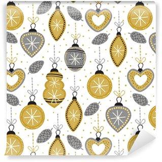 fdcbfe95 Spesialtilpasset vinyltapet Sømløs mønster med gull juledekorasjoner -  vektor illustrasjon, eps
