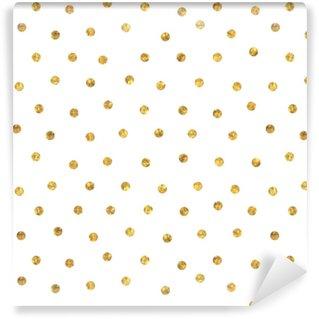 Spesialtilpasset vinyltapet Sømløs polka dot gull mønster.